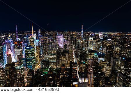New York City, Usa - June 25, 2018: High Angle View Of The Skyline Of Manhattan At Night. Business,