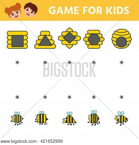 Children's Matching Educational Game With Cute Bees. Find The Hive Where The Bee Flies. Learning Geo