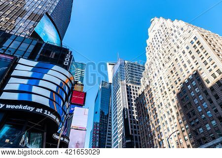 New York City, Usa - June 25, 2018: Low Angle View Of Skyscrapers In Times Square In Midtown