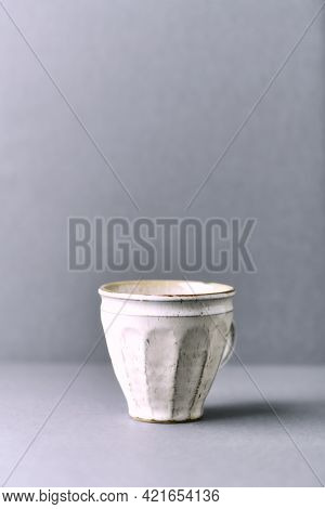 Traditional, Handcrafted Ceramic On Gray Background. Soft Focus. Copy Space.