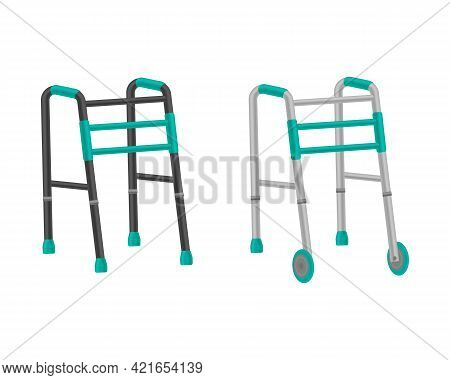 Vector Set Of Walkers For The Elderly. A Walker For The Elderly, Which Helps People With Disabilitie