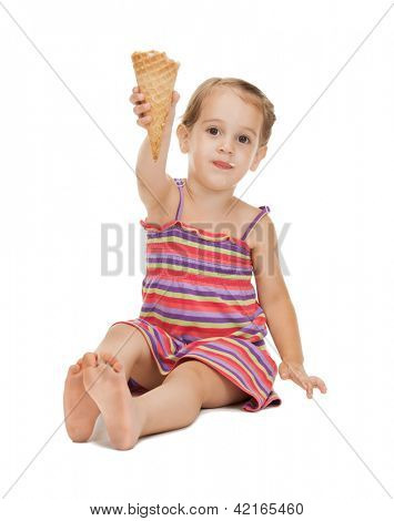 bright picture of beautiful litle girl with ice cream