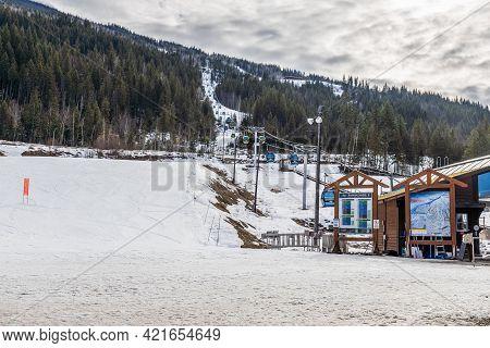 Revelstoke, Canada - March 15, 2021: Revelation Gondola At Ski Resort Early Spring.