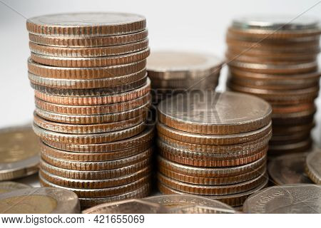 Stack Of Thai Baht Coins On White Background, Business Finance Investment Concept.