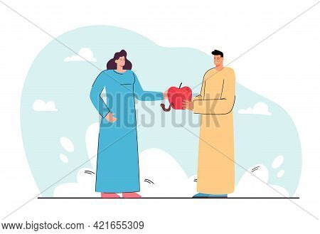Man Offering Woman Apple Vector Illustration. Female Character Receiving Red Ripe Fruit. Worm Lookin