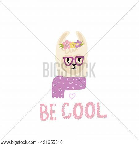 Cute Llama Girl With Flowers, Scarf And Glasses. Print For A Girl On A T-shirt, Dress, Pillow, Mug W
