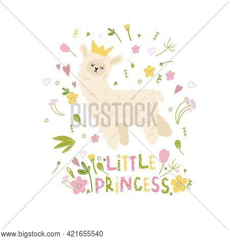 Little Princess Lama. A Lama With A Crown. Holiday Decoration For Girls With Flowers And Leaves, Hea
