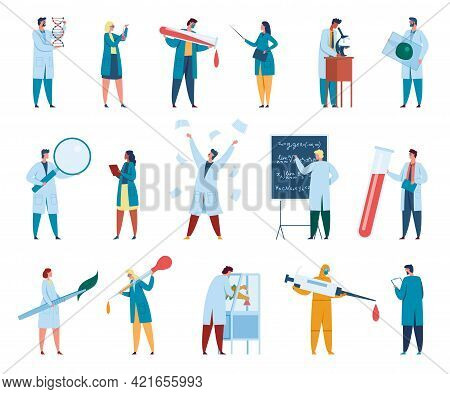 Scientist Characters. Male And Female Scientists In White Coats. Lab Workers, Researchers, Chemists