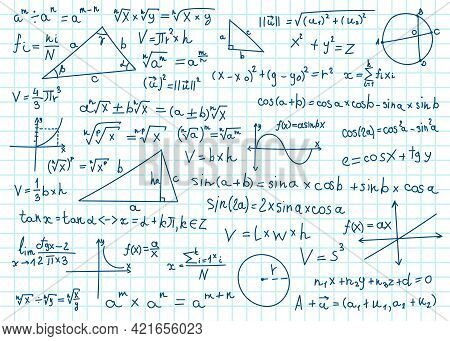 Doodle Math Formulas. Handwritten Mathematical Equations, Schemes On Notebook Squared Paper. Algebra