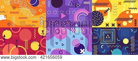 Memphis Background. Funky Abstract Cover With Geometric Shapes And Patterns. Fun Pop Art Retro 80s 9
