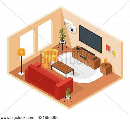 Isometric Living Room. Lounge Interior With Furniture Sofa, Chair, Tv, Coffee Table, Plant, Carpet.