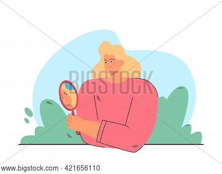 Woman Worried About Acne Vector Illustration. Displeased Female Character Looking Herself In Mirror.