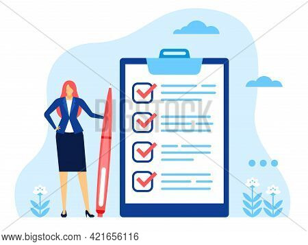 Businesswoman Checklist. Successful Woman With Completed Checklist. Business Task Completion, Checkb