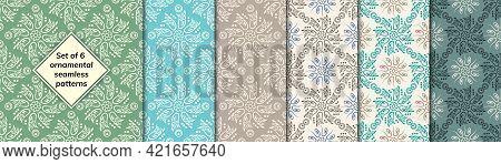 Pattern Set Arabic, Indian, Japanese, Islamic Motifs. Collection Patterns. Mandala Seamless Pattern.