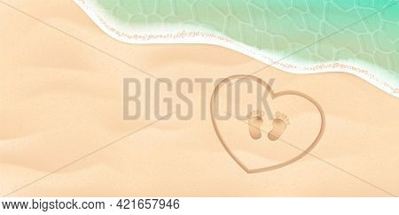 Baby Footprint On The Sea Shore. Background With Feet, Sand, Water. Vector Illustration. Beach Baby