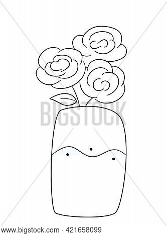 A Bouquet Of Three Lush Roses In A Wide Vase With A Wavy Pattern. Isolated Contour Black And White I