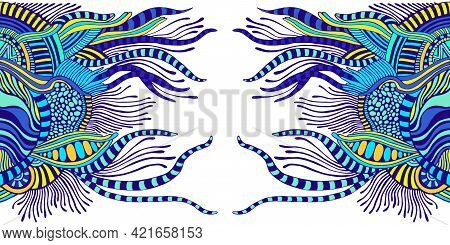 Bright Abstract Doodle Fantastic Psychedelic Background. Surreal Decorative Stylish Element For Desi