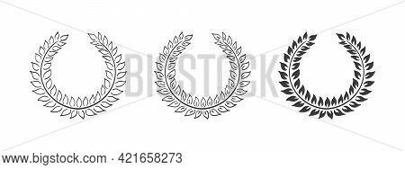 Laurel Wreaths. Ranking Decoration. Hand Drawn Wreaths. Decoration Wreath. Vector Illustration