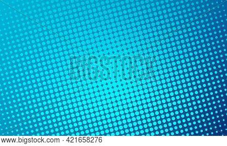 Halftone Blue Dots On Dark Blue To Azure Background. Comic Pop Art Style Blank Layout. Template Desi