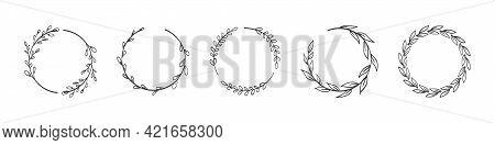 Laurels Branches. Vector Illustration Of Hand Drawn Wreaths. Doodle Floral Wreath Frames