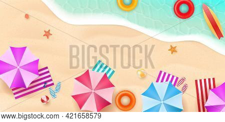 Aerial View Of Summer Beach In Flat Design Style. Slippers And Towel, Starfish And Summertime, Relax