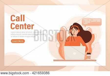 Call Center, Hotline Flat Vector Illustrations. Smiling Office Workers With Headsets Cartoon Charact