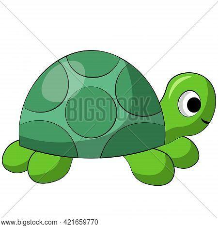 Cute Cartoon Turtle. Draw Illustration In Color