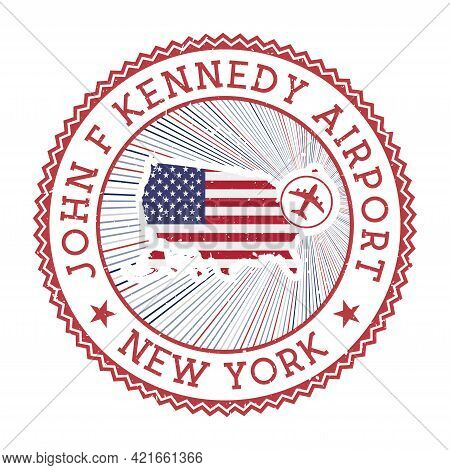 John F Kennedy Airport New York Stamp. Airport Logo Vector Illustration. New York Aeroport With Coun