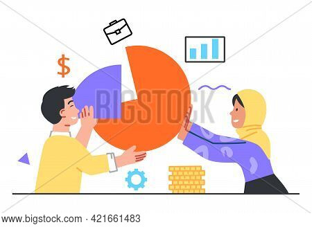 Symbol Of Teamwork, Cooperation, Collaboration And Partnership. Financial Management, Statistics And