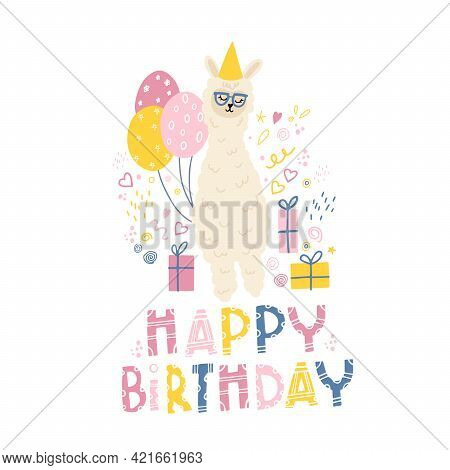 Birthday Of The Child. Children's Print On Clothes, Fabrics With A Small Llama, Balloons And Gifts.