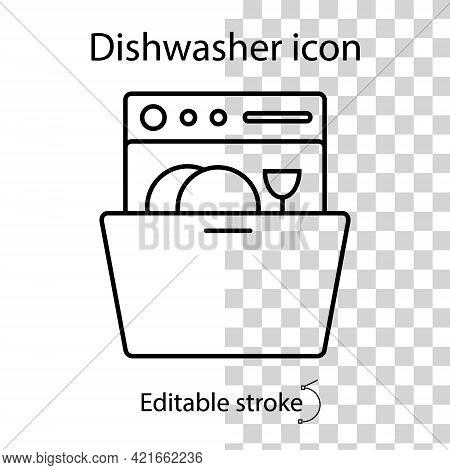 Dishwasher Linear Icon. Vector Stock Illustration. Flat Object. Editable Stroke