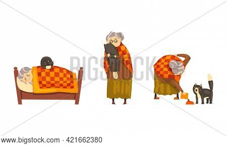 Lonely Old Happy Lady With Her Cat Set, Grandmother Sleeping And Feeding Her Black Cat Cartoon Vecto