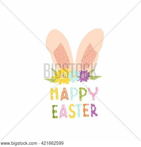 Bunny Ears With Flowers For Decorating An Easter Card. Rabbit Ears With Patterns For Printing On Clo
