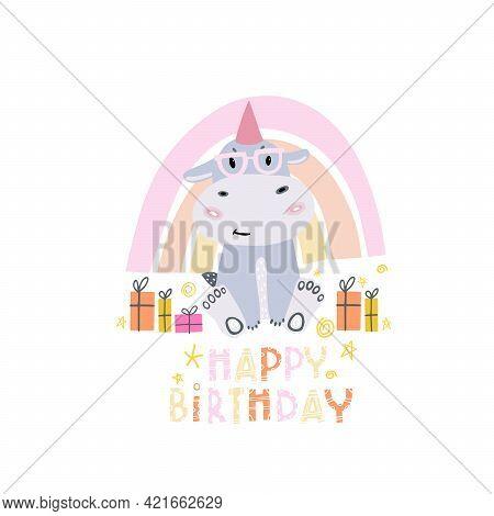 Birthday Of The Hippo. Children's Design In Doodle Style. Happy Birthday. Children's Print On Clothe