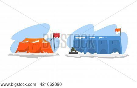 Arctic Explorer Set, Science Research Station, Polar Expedition Concept Cartoon Vector Illustration