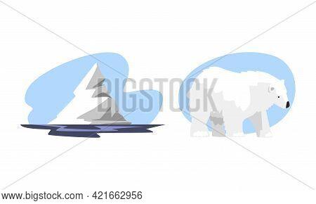 Arctic Explorer Set, Floating Iceberg And White Arctic Bear, Polar Expedition Concept Cartoon Vector