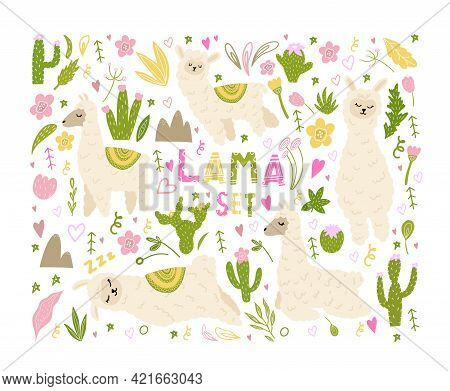 Set With Cute Lama, Plants, Cacti. Llamas For Decorating Children's Prints, Rooms, Clothes, Postcard