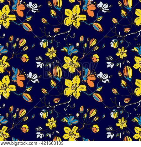Colorful Graphic Floral Vector Seamless Pattern On A Blue Background. Stylized Hand-painted Garden L