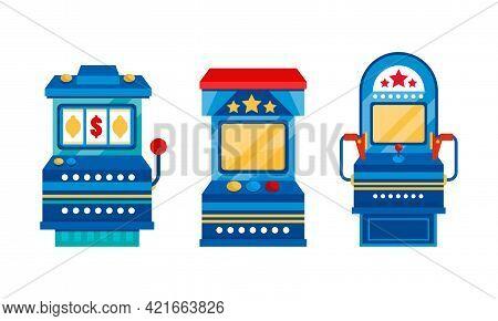 Set Of Retro Game Slot Machines, One Armed Bandit, Gambling, Casino Concept Cartoon Vector Illustrat