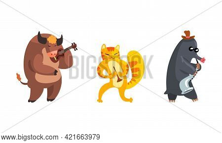 Musician Animals Characters With Musical Instruments Set, Bull, Mole, Cat Playing Violin, Saxophone,