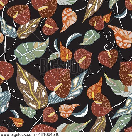 Anthurium. Seamless Floral Pattern With Brown, Red Glossy Flowers And Anthurium Leaves. Drawn Tropic