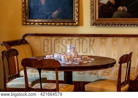 Wygiezlow, Poland - August 14, 2020: Interior Of The Manor House Of A Wealthy Noble Family From Drog