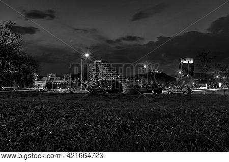 Most, Czech Republic - Mai 03, 2021: City In Cloudy Night