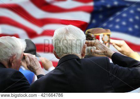 Veterans Saluting On Memorial Day Ceremony, Lexington, Ma