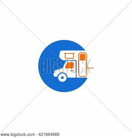 Simple Caravan Mobile Icon Logo Design Vector