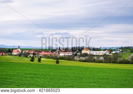 Bitozeves, Czech Republic - May 04, 2021: Village In Windy Cloudy Weather