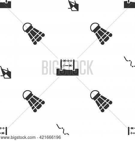 Set Kite, Abacus And Badminton Shuttlecock On Seamless Pattern. Vector