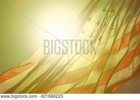 American Flag Fluttering In The Air At Morning