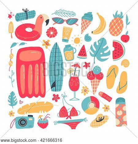 Big Set Of Summer Vacation Items. Accessories For Beach Holidays By The Sea. Summer Fruits, Food, Dr