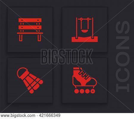Set Roller Skate, Bench, Swing And Badminton Shuttlecock Icon. Vector